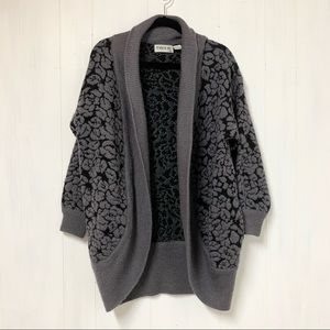 Vintage Grey and Black Floral Floral Sweater
